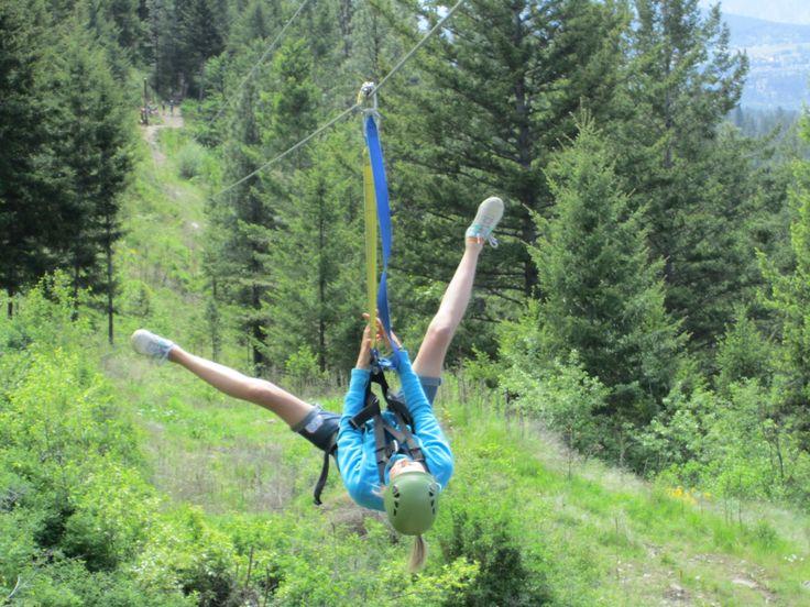 Zip lining at Oyama Ziplines.  2 hours of incredible views and fun. www.kelownainnandsuites.com