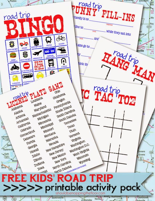 Free Printable Kids' Road Trip Activities   Perfect for summer trips   Laminate and use with dry erase for endless fun!