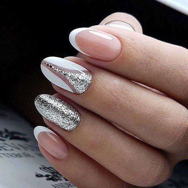 French bianco argento glitter particolari | Unghie gel ...