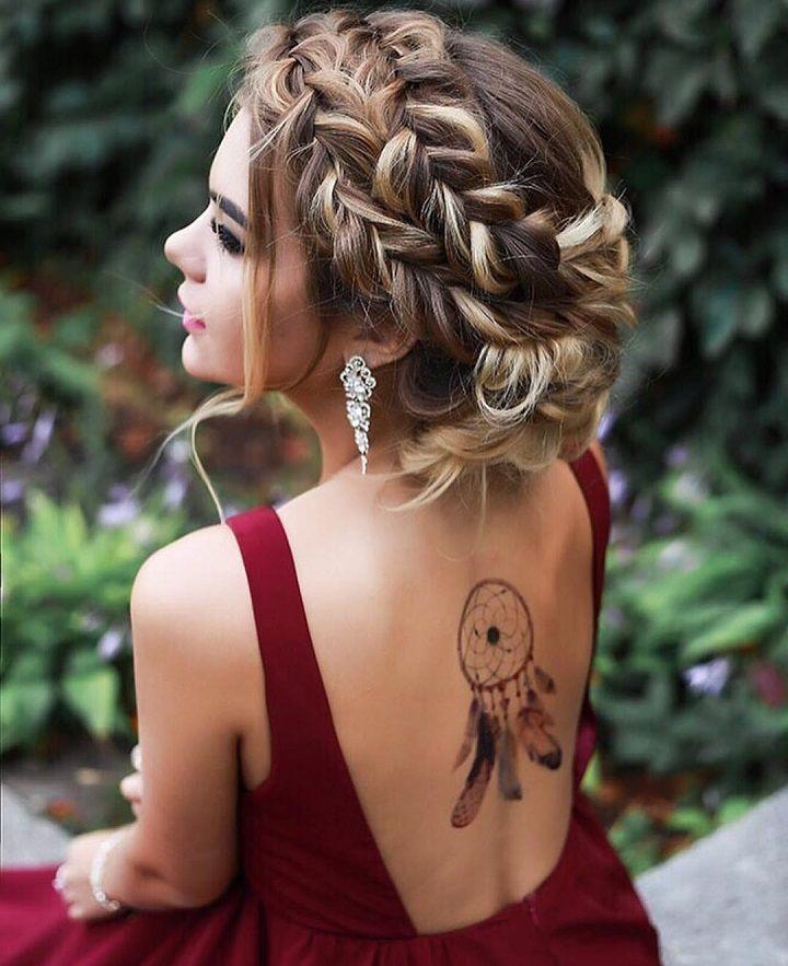 Geflochtene Hochzeitsfrisur mit Hochsteckfrisur | fabmood.com #hochzeitshaar #geflochtene Frisur …   – Hair up