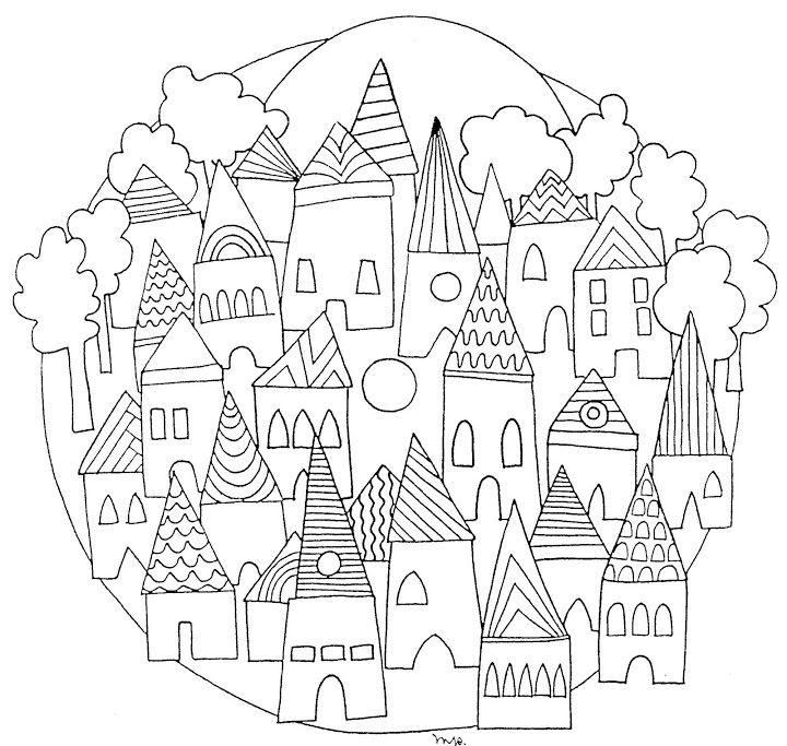 Mandala ville #mandala #mandalas #coloriage