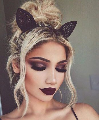 cute hairstyle + top bun + lips + eye makeup / #beauty #hairstyles #makeup
