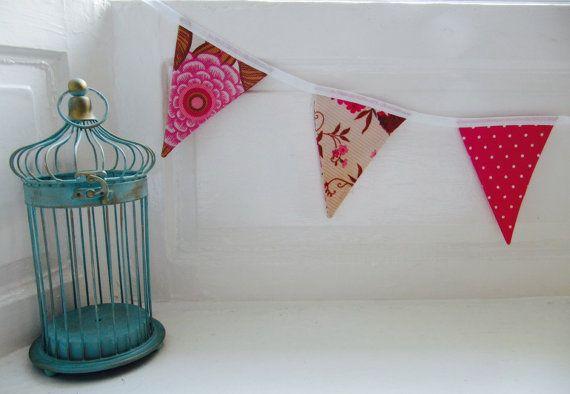 Gorgeous Vintage Fabric Bunting - Pink Cream Brown Vintage and Polka Dot Garland Bunting