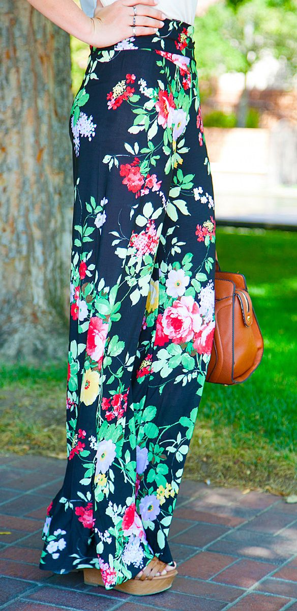 Floral palazzo pants. I LOVE THESE PANTS!!!!!!!!!!!!!! LOVE THEM!!!!!!!!!!!!!! LOVE THEM!!!!!!!!!!!! LOVE THEM!!!!!!!!!!!!!!!!
