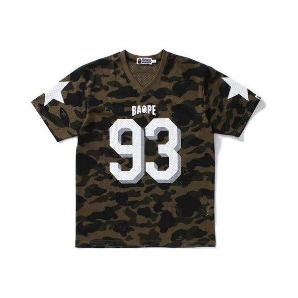 1ST CAMO MESH FOOTBALL TEE M ($100) ❤ liked on Polyvore featuring tops, t-shirts, camo t shirt, camo top, camouflage tee, mesh top and camo tee