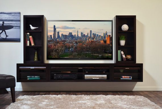Floating Entertainment Center ECO GEO Espresso by WoodwavesInc