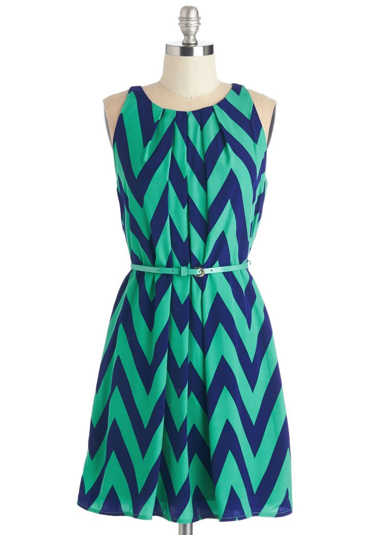 Great Wavelengths Dress in Jade - Blue, Mint, Print, Chevron, Belted, Casual, A-line, Sleeveless, Spring, Good, Mid-length, Satin, Woven