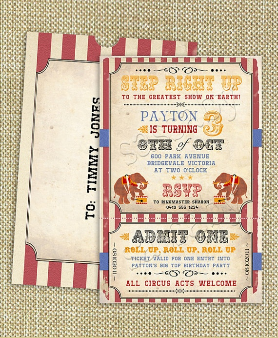 DIY Vintage Circus Invite
