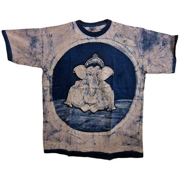 Batik Print Ethnic Hippie T- Shirt Ganesha Blue Print Yoga T-Shirts ($48) ❤ liked on Polyvore featuring tops, t-shirts, shirts, tees, yoga t shirts, pattern t shirt, blue top, hippy shirts and print shirts