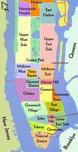 Mapa de las zonas de la ciudad de  New York