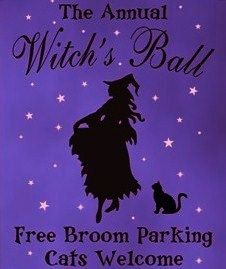 Primitive Witch signs Annual witches ball dance witchcraft halloween Signs decorations wicca wiccan black cats broomstick parking by SleepyHollowPrims, $27.00 USD