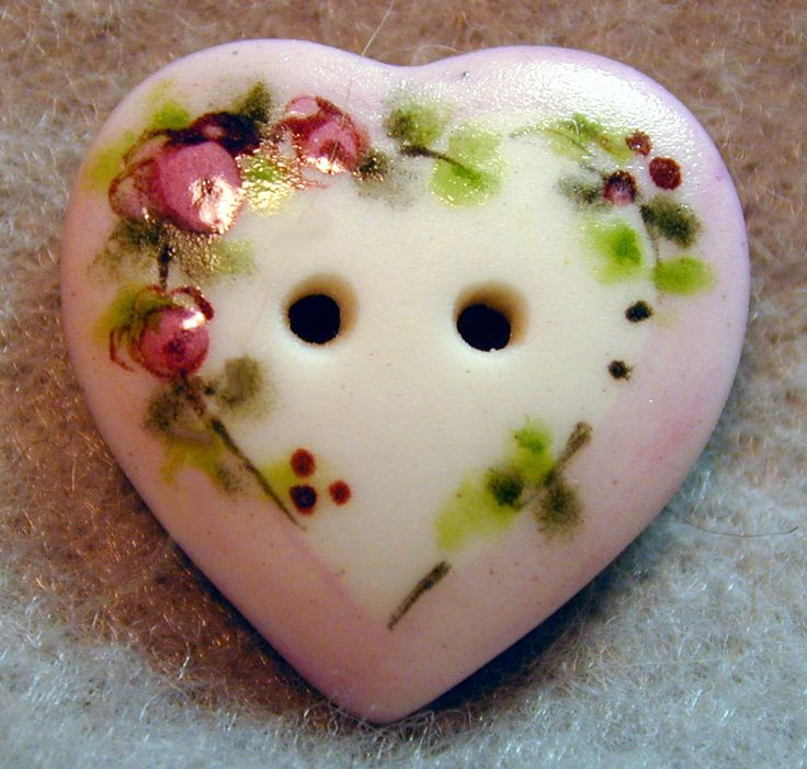 Handcrafted Porcelain Button Pink Heart w/ Flowers FREE US SHIPPING