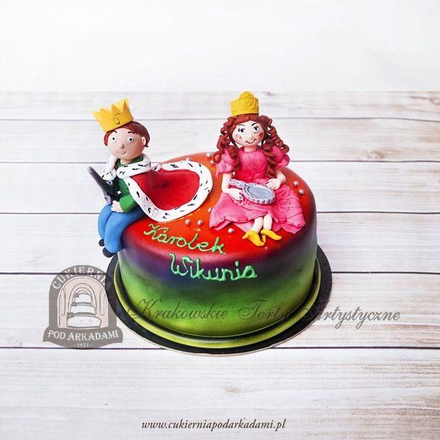 215BD Tort z figurkami królewny i królewicza. Prince & princess cake.