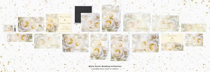 #ZAZZLE White roses Wedding Collection White roses makes romantic and dreaming your Wedding Invitations Set. Every piece is personalizable changing text,font,size and color as well you prefer.