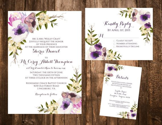 Purple Bohemian Garden Wedding Invitation SET By Papernpeonies