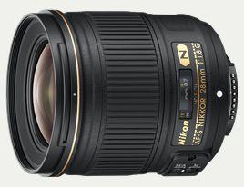 AF-S NIKKOR 28mm f/1.8G  2012年5月24日新発売  希望小売価格:¥93,450(税抜 ¥89,000)  焦点距離  28 mm  開放絞り  f/1.8  最小絞り  f/16  レンズ構成  9群11枚(非球面レンズ2枚、ナノクリスタルコートあり)  画角  75°(35mm判一眼レフカメラ、FX フォーマットのデジタル一眼レフカメラ)  53°(DXフォーマットのデジタル一眼レフカメラ)    DX フォーマットデジタル一眼レフカメラ装着時:42mmレンズの画角に相当(FX フォーマット/35mm 判換算)  ピント合わせ  RF(リアフォーカス)方式、超音波モーターによるオートフォーカス、マニュアルフォーカス可能  最短撮影距離  0.25 m  最大撮影倍率  約1/4.6倍  絞り羽根枚数  7枚(円形絞り)  アタッチメントサイズ  67 mm  寸法  約73 mm(最大径)×80.5 mm(レンズマウント基準面からレンズ先端まで)  質量  約330 g