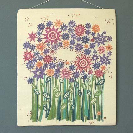 """Bonad """"Blomsteräng"""" 1966, med blommönster broderat i lingarn på ylletyg. Designer/Formgivare: Reidun Svendsen."""