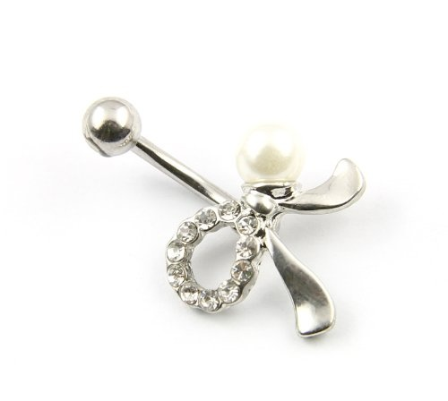 316L Surgical Stainless Steel Rhinestone Bowknot Ball Barbell Navel Belly Button Ring