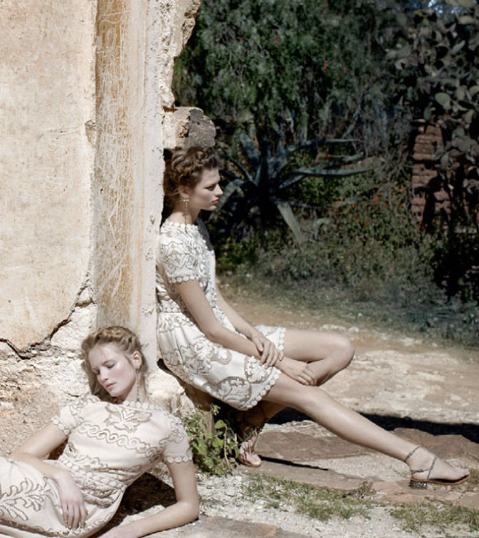 Bette Franke and Maud Welzen by Deborah Turbeville for Valentino campaign, spring 2012