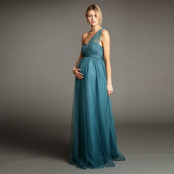 Maternity Bridesmaid Dresses: 2017 Ruched Tulle Long Maternity Bridesmaid Dresses For