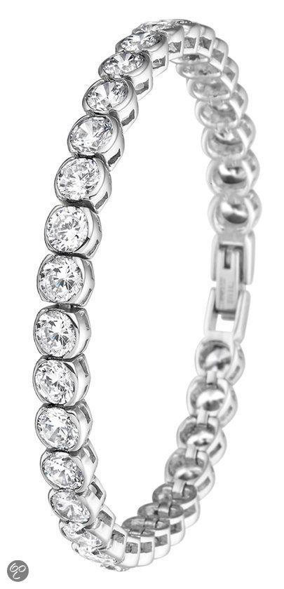 Lucardi Stalen Armband - Met Zirkonia - 19 cm