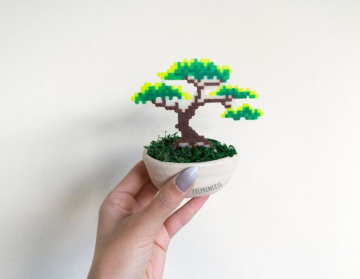 Bonsai Tree Set Of 3 Pixel Plant In A Pot Artificial Plant Potted Plant Perler Hama Beads Wedding Centerpiece Pixel Art Faux Plant In 2021 Hama Beads Perler Beads Perler