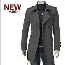 Invierno cazadora de lana nuevos hombres de lana de abrigo de gabardina chaqueta de invierno abrigo abrigo doble de pecho peacoat hombres