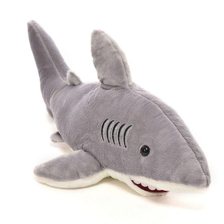 "Great white plush ocean shark stuffed animal sea toy fish doll gray dolphin 24"" #SASUSA"