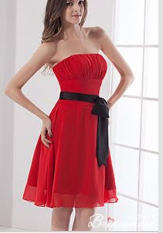 Red Dress With Black Sash Bridesmaids Cheap Bridesmaid