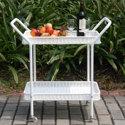 Wicker Lane Outdoor Wicker Patio Furniture Serving Cart
