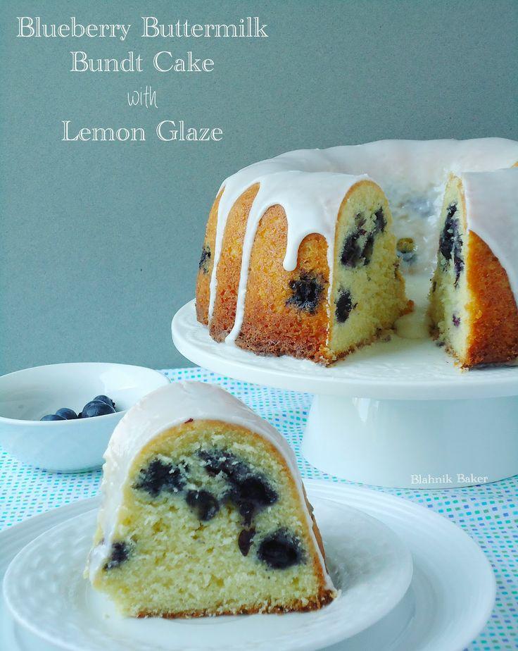 Blueberry Buttermilk Bundt Cake with Lemon Glaze| www.blahnikbaker.com