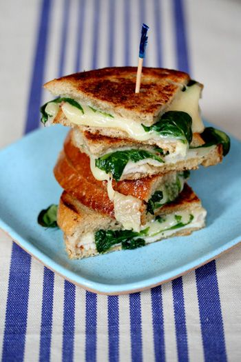 Everyone loves grilled cheese.  This high protein version has less fat and a serving of veggies.  Serve with a wedge of apple and you've got the four food groups.