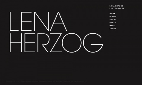 Lena Herzog    The redesign of the website was a collaborative work between Lena Herzog, James Sanderson & Leapfrog. The focus was about showing and managing the photography, creating a minimalistic layout to support the photographers work.