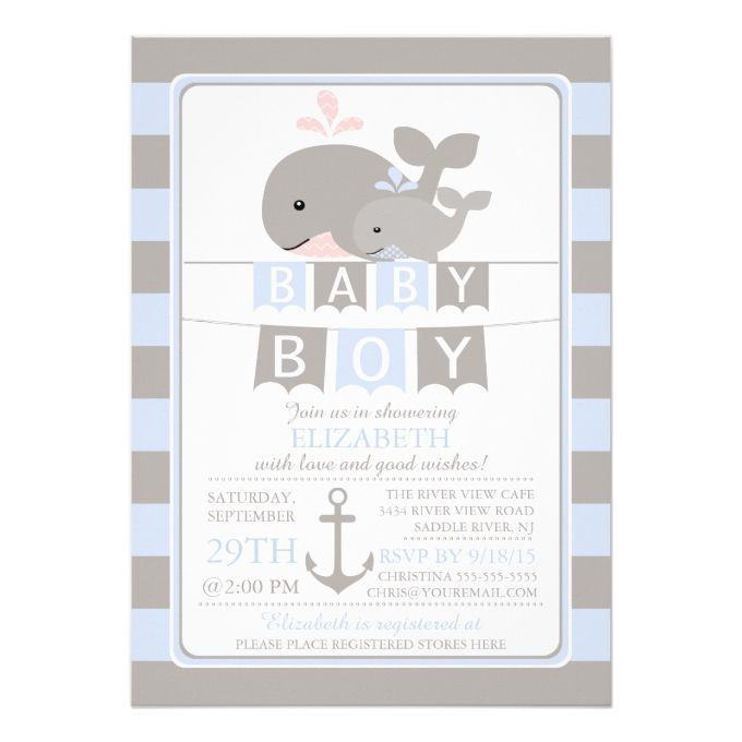 cute whale boy baby shower invitation
