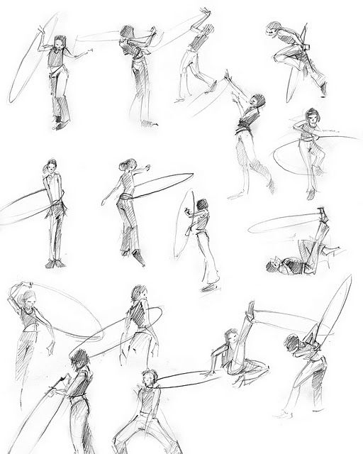 Hula hooping sketch.  These would also be cool for a hooping tattoo!
