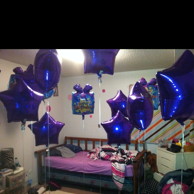 Special occasion / birthday :   For my daughters sweet sixteen birthday . While she was sleeping I snuck in her room and placed 16 ( purple , her favorite color) balloons in her bedroom , do that she woke up in the morning to a big Happy Birthday surprise!  This would also be great to do all black for an over the hill birthday , or anniversary ,or a congratulations for a special achievement !