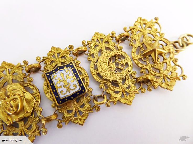 Vintage Egyptian revival bracelet with Sphynxes and enamel work