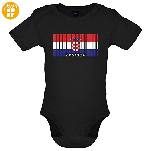Croatia / Kroatien Barcode Flagge - Lustiger Baby-Body - Schwarz - 3 bis 6 Monate - Baby body (*Partner-Link)