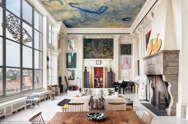 The Best Living Room in the World? by Emma Reynolds, dailmaily.co.uk: This apartment at 44 W. 77th St., on NYC's Upper West Side, features a beautiful Miro-style ceiling painted by Ramon Canet, Corinthian columns, a stone fireplace built on the Iberian Peninsula, and a wooden table and chairs by George Nakashima, arguably the top woodworking artisan of the 20th century! Photo by Evan Joseph/Prudential Douglas Elliman. #Interior_Design #NYC #44_W_77th_St #dailymail_co_uk #Emma_ReynoldsNew York Cities, Upper West Side, Interiors Design, Living Room, New York Apartments, Ceilings, New York Loft, Artists Loft, Loft Apartments
