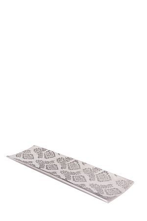 """This ceramic plate with damask design can be used as a base for decorations or as a decorative piece on its own.<div class=""""pdpDescContent""""><BR /><b class=""""pdpDesc"""">Dimensions:</b><BR />L50xW15.5xH4 cm</div>"""