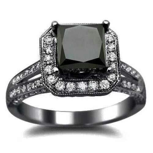 Black diamond engagement ring..<3