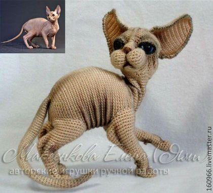 Купить или заказать Кошка СФИНКС в интернет-магазине на Ярмарке Мастеров. кошка породы Сфинкс, связана по фото из пряжи, внутри проволочный каркас, наполнитель для игрушек. Можно связать с сходством вашей кошки.