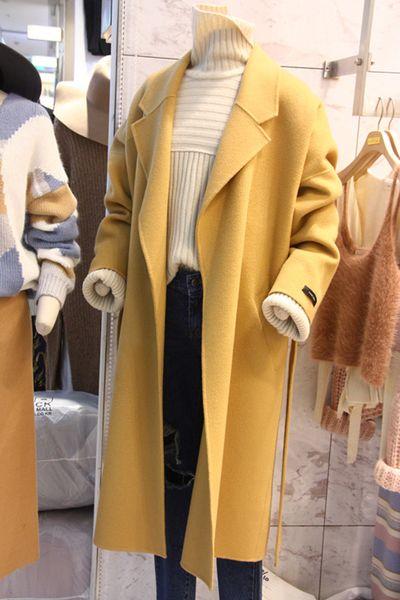 шерстяное пальто длинный отрезок сезона против клиренса женщин весной и осени 2017 Корейских мод шерстяного пальто лацкана кружева