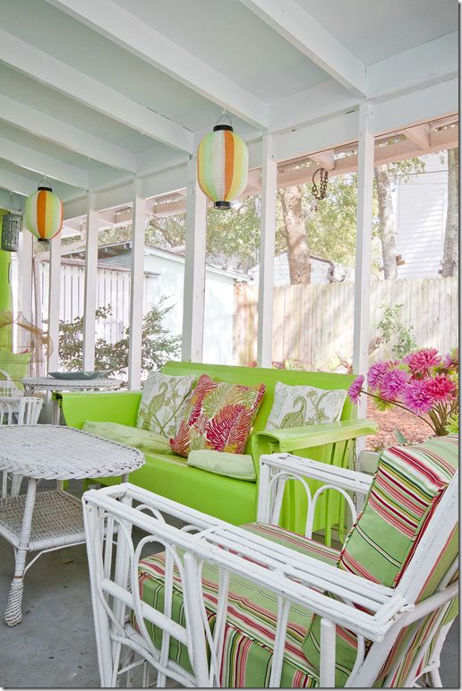 with green sunporch. Mary Kay Andrews's writing retreat on Tybee Island via cote de texas.
