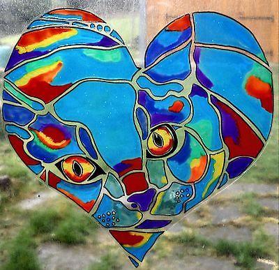 WICOART STICKER WINDOW COLOR CLING FAUX STAINED GLASS POP ART LOVE CAT CHAT