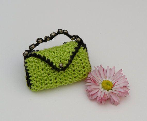 Bright Green Knit Barbie Handbag. Handmade Doll by KnittyforB