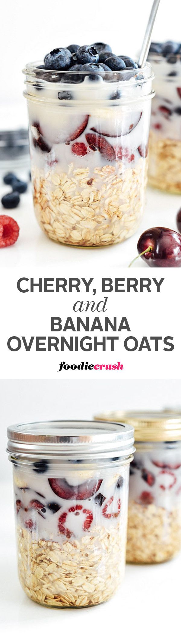 Oats, berries, cherries and banana soak in almond milk overnight in the refrigerator to create a no-cook red, white and blue layered on-the-go breakfast   foodiecrush.com