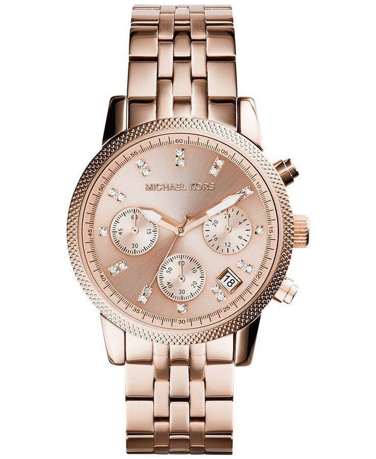 Michael Kors Women's Chronograph Ritz Rose Gold-Tone Stainless Steel Bracelet Watch 37mm MK6077