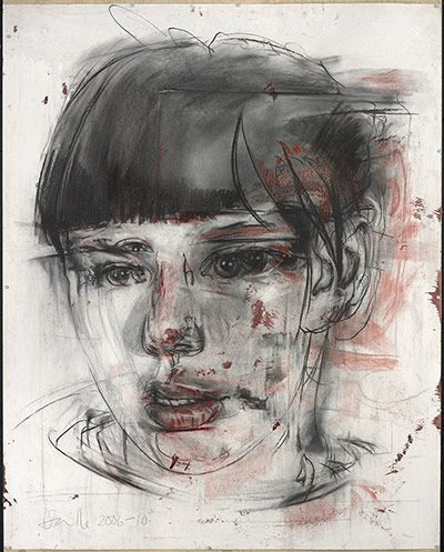 Credit: (c) 2012 Jenny Saville, image courtesy Gagosian Gallery  Stare (drawing), 2006-2010