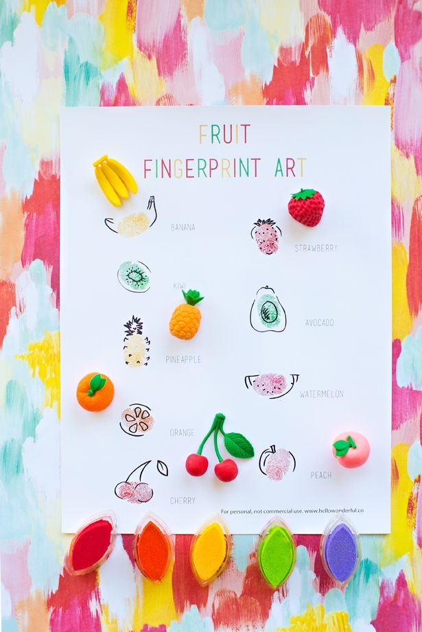 fruit fingerprint art with free printable template cute toddler or preschool art project for the